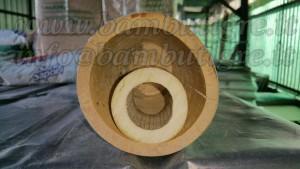 Nonostante le dimensioni inferiori del 50% il Madake presenta uno spessore maggiore sul diametro